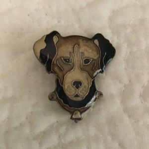 Jewelry - Vintage enameled dog pin